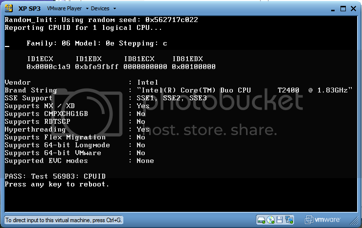 VMware CPU ID - 32bit Machine